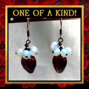 Purple Glass & Opalite Gemstone Earrings #219